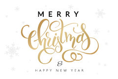 Vector illustration of hand drawn lettering - Merry Christmas and happy new year - with snowflakes on the background.  stock illustration