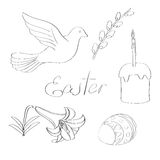 Vector illustration hand drawn line art easter design elements set Stock Photography