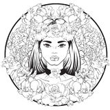 Vector illustration in hand drawn line style. Portrait of young beautiful girl with flowers and choker. Template for card poster banner and print for t-shirt Royalty Free Stock Photography