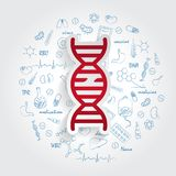 Icons For Medical Specialties. Gerontology And Broken DNA Concept. Vector Illustration With Hand Drawn Medicine Doodle. vector illustration