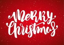 Vector illustration: Hand drawn modern brush lettering of Merry Christmas on red snowflake background.  Stock Image