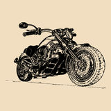 Vector illustration of hand drawn motorcycle. Detailed sketched classic chopper in ink style for biker club sign etc. Royalty Free Stock Photography