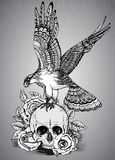 Vector illustration with hand drawn ornate eagle on human skull Royalty Free Stock Photo