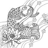 Vector illustration with hand drawn outline koi carp, waves and lotus or water lily in black isolated on white. Royalty Free Stock Photo