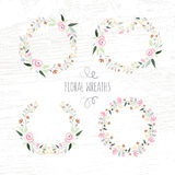 Vector illustration of hand drawn pastel flower and floral frame Royalty Free Stock Photos