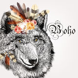 Vector illustration with hand drawn portrait of wolf stock illustration