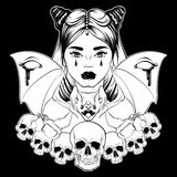 Vector illustration in hand drawn realistic style with skull and bat. Stock Photo