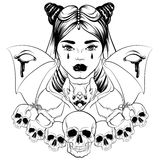 Vector illustration in hand drawn realistic style with skull and bat. Stock Image
