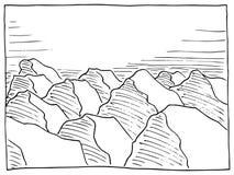 Hand drawn rock landscape Royalty Free Stock Image