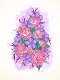 Vector illustration with hand drawn roses, flowers and leaves on a background with textured watercolor elements. Stock Photo