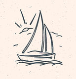 Vector illustration with hand drawn sail boat. Isolated. Royalty Free Stock Photos