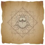Vector illustration with hand drawn Scarab and Sacred geometric symbol on old paper background with torn edges. Abstract mystic. Sign. Sepia linear shape. For royalty free illustration