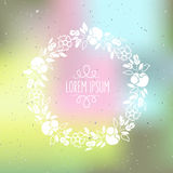 Vector illustration of hand drawn silhouette floral wreath on te Stock Images