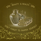 Vector illustration with hand  drawn silhouette spa accessories. Stock Image