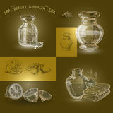 Vector illustration with hand  drawn silhouette spa accessories Stock Images