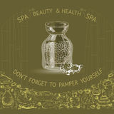 Vector illustration with hand  drawn silhouette spa accessories. Stock Images