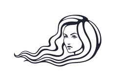 Sketch of beautiful woman with long hairs that fluttering on the wind Stock Image