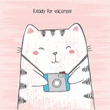 Vector illustration of hand drawn sketch crtoon white cat hugs his photo camera on scratched grunge pink background stock illustration