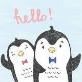 Vector illustration of hand drawn sketch friendly penguins isolated on a blue grunge background with lettering hello! royalty free illustration