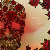Vector illustration with Hand Drawn Skull Stock Photography