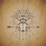 Vector illustration with hand drawn Stag beetle and Sacred geometric symbol on vintage paper background. Abstract mystic sign. Sepia linear shape. For you royalty free illustration