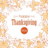 Thanksgiving day. Elegant banner with leaves. Wreath with gifts of autumn on white background, outline. Royalty Free Stock Images