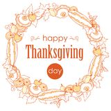 Thanksgiving day poster with autumn leaves, vegetables and fruits. Wreath with gifts of autumn on white background, outline. Royalty Free Stock Photo