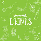 Vector illustration of hand drawn summer drinks. Lettering poster on the light green background with lemon slices. Royalty Free Stock Photos