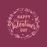 Vector illustration of hand drawn valentines day greeting card Royalty Free Stock Photos