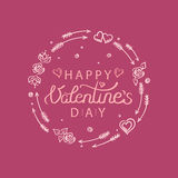 Vector illustration of hand drawn valentines day greeting card Royalty Free Stock Photo