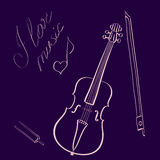 Vector illustration hand drawn violin with bow and tuning fork and handwritten title I love music with music note Royalty Free Stock Images