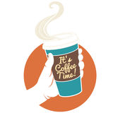 Vector illustration hand holding disposable coffee cup. Cardboar Royalty Free Stock Image