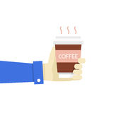 Vector illustration hand holding disposable coffee cup. Flat sty Royalty Free Stock Images