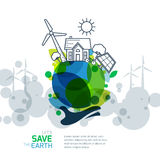 Vector illustration of hand holding earth with wind turbine, house, solar battery, bicycle and trees. Stock Photography