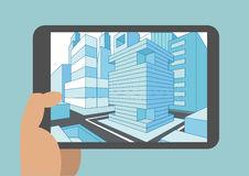 Vector illustration of hand holding modern tablet or smart phone with 3D view of a city displayed on touch screen Royalty Free Stock Photo