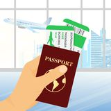 Vector illustration of hand holding passport with tickets on airport background. Concept travel and tourism. vector illustration