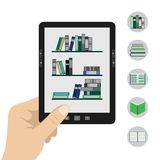 Portable modern tablet  e-book reader. Vector illustration of a  hand holding portable modern tablet  e-book reader in hand.Five book icons Stock Photography