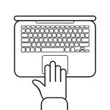 Vector illustration with hand on keyboard of the laptop. Vector icon of laptop and hand`s top view in flat style. Vector illustration with hand on keyboard of Royalty Free Illustration
