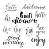 Vector illustration - hand lettering catchwords (hello, good mor Stock Photos