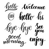 Vector illustration - hand lettering catchwords (hello, good mor Royalty Free Stock Photo
