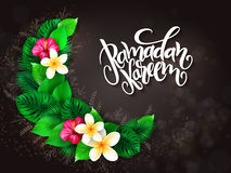 Vector illustration of hand lettering greetings text - ramadan kareem with plumeria flower, aralia leaves in hape of Royalty Free Stock Photos