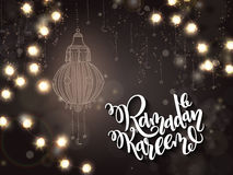 Vector illustration of hand lettering greetings text - ramadan kareem with shining lights, bulbs garland and flashlight Royalty Free Stock Photos