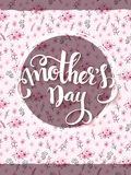 Vector illustration of hand lettering - happy mother`s day on doodle floral background Stock Photo