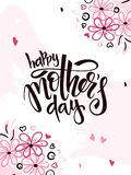 Vector illustration of hand lettering - happy mothers day with doodle flower branches Royalty Free Stock Images