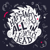 Vector illustration of hand lettering inspiring quote - happiness is all in your head. All the letters are in head shape silhouett Stock Photo