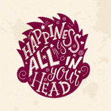 Vector illustration of hand lettering inspiring quote - happiness is all in your head. All the letters are in head shape Stock Photo