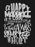 Vector illustration of hand lettering inspiring quote about marriage. Yand drawn poster. Illustration of hand lettering inspiring quote about marriage. Yand stock illustration