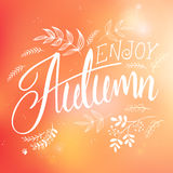 Vector illustration of hand lettering label - enjoy autumn - with doodle brunches and leaves.  Royalty Free Stock Photo