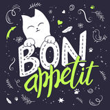 Vector illustration of hand lettering text - bon appetit. There is cute fluffy cats, surrounded with curly, swirly, paw Stock Images