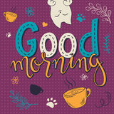 Vector illustration of hand lettering text - good morning. Royalty Free Stock Image